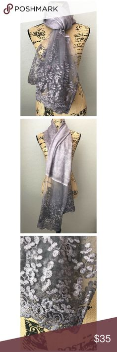 Lavender Lace Scarf🌿 Summer accessories! In Lavender Color. Lace Scarf with a lot of detail 🌿🌿 new item without tags. Accessories Scarves & Wraps