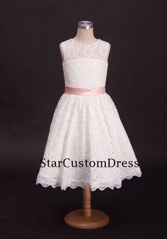 Ivory de encaje vestido con cinturón rosa para por StarCustomDress