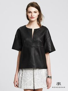 BR Monogram Black Leather Top love this top