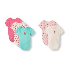 Baby Girls Short Sleeve Sweet Bodysuit 5-Pack | The Children's Place