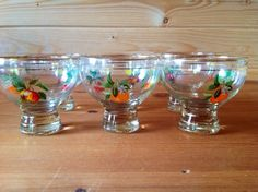 Fruity Liqueur Glasses Or Ice Cream Bowls With Golden Rims - Oranges, Lemons, Apples & Cherries - Vintage French 1950s - Set Of 6 by Onmykitchentable Vintage on Gourmly