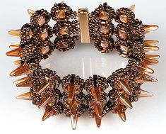 Bracelet with with spikes from Preciosa via Fire Mountain. #Seed #Bead #Tutorials