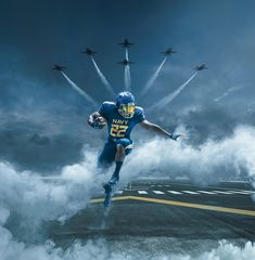 UNDER ARMOURNavy Football Uniform Announcement - Key VisualsFor the big Army vs. Navy game, Navy athletics teamed up with Under Armour to take their uniforms to the next level. inspired by, and featuring the Blue Angels. Army Navy Football, Army & Navy, College Football, Football Art, Football Stuff, Sports Graphic Design, Sport Design, Ad Design, Navy Midshipmen