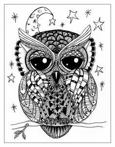 Night Owl, Doodle Art, Digital Download, 11 x 14 inch, pen and ink, illustration, zentangle, art, wall art, wall decor, greeting cards