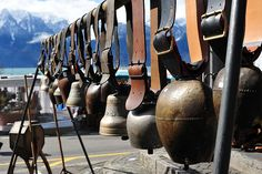 Swiss Cow bells on the market in Vevey