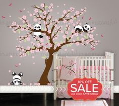 Cherry Blossom Wall Decal Playful Pandas in Cherry Blossom Tree   Custom Nursery and Children's Room Interior Design   Easy Application 094 by InAnInstantArt on Etsy https://www.etsy.com/listing/220587287/cherry-blossom-wall-decal-playful-pandas