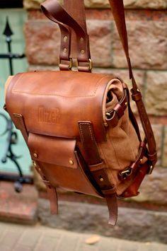 Backpack Leather Canvas Backpack Sling Backpack Messenger image 8