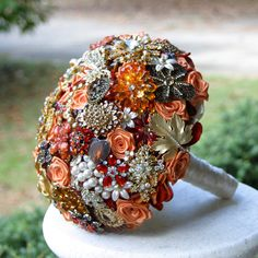Autumn Orange Wedding Brooch Bouquet .