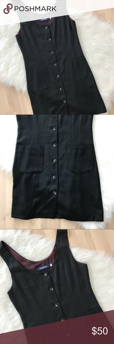 """French Connection Button Down 90's Dress 90's Vintage French Connection Button Down Dress, featuring 2 front pockets. Sleeveless. Heavy tuxedo like material.  Size 6. Bust: 35"""" Length: 34""""  Amazing condition, no flaws! French Connection Dresses Mini"""