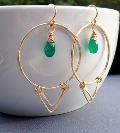 Green Onyx Gold Tribal Bohemian Triangle Hoop