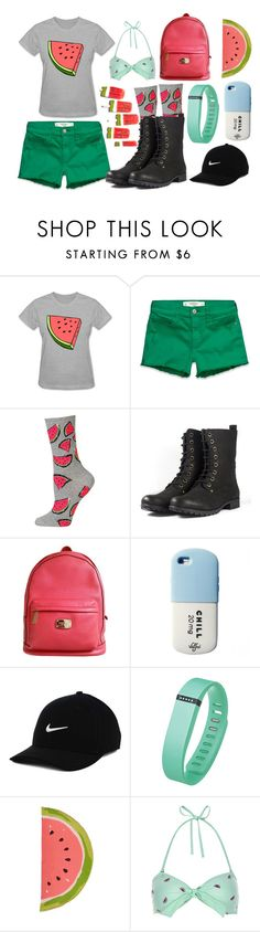 """""""Watermelon"""" by shiann-styles on Polyvore featuring Abercrombie & Fitch, HOT SOX, Michael Kors, Valfré, NIKE, Fitbit, Kate Spade and Monsoon"""