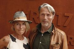Mads Mikkelsen & Hanne Jacobsen attend Rafael Nadal's victory during the Men's Final on Day Fifteen of the 2017 French Open, Second Grand Slam of the Season at Roland Garros Stadium on June 11, 2017 in Paris, France.