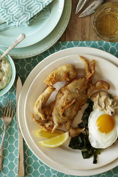 Lowcountry Deep-fried Soft-Shell Crab with Bacon Dressing and Egg....Love soft shell but this combo is different.