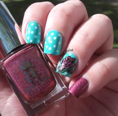 The Clockwise Nail Polish: A England Briar Rose & Purple Professional 94 Peace, spots and roses