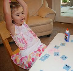 This memory game using seeds covers a lot of different skills from sorting, cutting, counting, matching, and division!  What a fun way to a lot with such little effort!