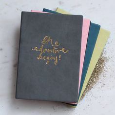 Personalised 'The Adventure Begins' Pu Leather Notebook