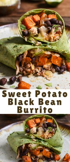 SWEET POTATOES, BLACK BEANS, CHICKEN, CHEESE, AND RICE COME TOGETHER TO MAKE A PROTEIN PACKED BURRITO THAT'S PERFECT FOR FREEZING!