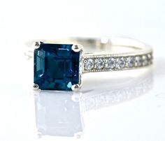 14K Asscher London Blue Topaz Engagement Ring by RareEarth on Etsy, $1240.00