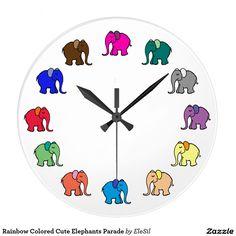 Rainbow Colored Cute Elephants Parade Large Clock