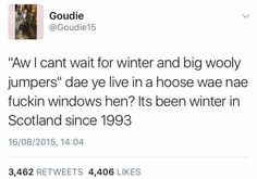50 Hilarious Scottish People Who Will Make You Piss Yourself Laughing Scottish Twitter, Scottish Tweets, Funny Tweets, Funny Memes, Jokes, Funny Fails, Haha Funny, Hilarious, Funny Stuff