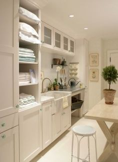 My new laundry room requires a folding table/counter space, ironing board, shelves for baskets, recessed lighting, and storage. Just put the washer/dryer in place of that sink.