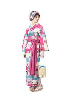 ふりふ16夏 Japanese Costume, Japanese Kimono, Fashion Illustration Portfolio, Mode Kimono, Yukata Kimono, Kimono Design, Summer Kimono, Chinese Clothing, Japanese Outfits
