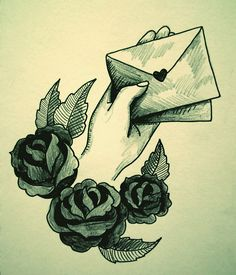 traditional tattoo style love letters and roses sketch