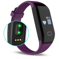 Kassica Waterproof Healthy Fitness Tracker with Heart Rate monitor Activity Smart Bracelet Wireless Wristbands Bluetooth Smart Watch Pedometer for IOS Android SmartPhone for IphonePurple *** Continue to the product at the image link. Smartwatch Bluetooth, Bluetooth Gadgets, Best Fitness Watch, Waterproof Fitness Tracker, Track Workout, Smart Bracelet, Wearable Technology, Heart Rate Monitor, Android Smartphone