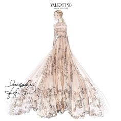 Sketch of Frida Giannini's custom Valentino wedding dress by Maria Grazia Chiuri and Pierpaolo Piccioli