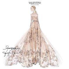 Sketch of Frida Giannini's custom Valentino wedding dress by Maria Grazia Chiuri and Pierpaolo Piccioli
