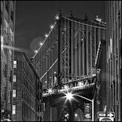 Framed Black and White prints of  Manhattan Bridge view from Washington Street in Brooklyn
