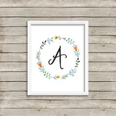 Letter A Monogram Printable, Instant Download on etsy.com, $5, Floral Wreath Print, Nursery Wall Art