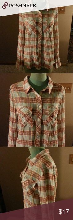 """Free People Shirt Creme and Red cotton plaid gauze like button up front shirt has front pockets has a crinkle design to it looser fit is 29""""long Free People Tops"""