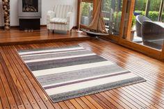 Amazon.com - Bombay Super Soft Grey, Cream & Purple Striped Rug 7625 - 4 Sizes Available -