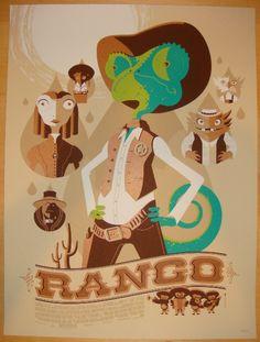 Rango - silkscreen movie poster (click image for more detail) Artist: Tom Whalen…