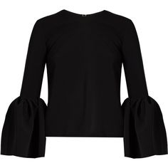 Roksanda Truffaut bell-sleeved stretch-cady top ($676) ❤ liked on Polyvore featuring tops, roksanda, black, roksanda top, stretchy tops, flared sleeve top and stretch top