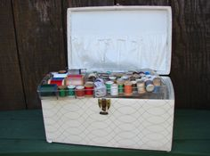 Quilted Vinyl Sewing Basket Full of Supplies  White by PJsParadise
