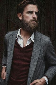 Grey jacket with red vest