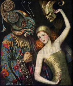 Whimsical Art Deco Theatre Poster, W. Benda Costume Masks, Stage Drama Play, Beautiful Girl with Masked Man, 1921 Giclee Art Print Arte Art Deco, Moda Art Deco, Estilo Art Deco, Art Deco Era, Art And Illustration, Illustrations And Posters, Art Deco Posters, Vintage Posters, Vintage Art