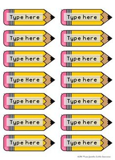 pencil name tags free is part of Classroom - Pencil Name Tags FREE artIdeas Pencil Classroom Labels, Classroom Organisation, Classroom Setup, School Organization, Classroom Management, Classroom Name Tags, Classroom Window Display, Classroom Job Chart, Teacher Bulletin Boards