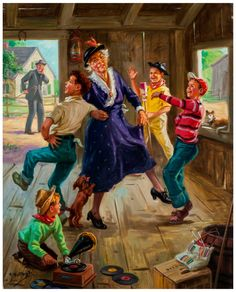 Grandma Goes Dancing by Henry Hintermeister in America Illustrated: Norman Rockwell and His Contemporaries Including Works from the Charles E. Artists For Kids, Art For Kids, Vintage Posters, Vintage Art, Gravure Photo, Norman Rockwell Art, American Artists, Illustrators, Folk Art