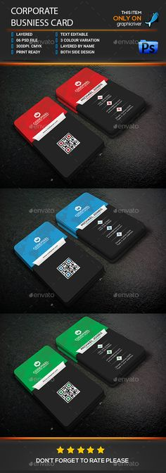 Corporate Business Card Design - Corporate Business Cards Template PSD. Download here: https://graphicriver.net/item/corporate-business-card/16973563?s_rank=168&ref=yinkira