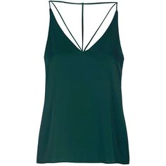 Strappy Plunge Cami Top - Topshop ❤ liked on Polyvore featuring tops, shirts, tanks, green tank, camisole tank, strappy cami, camisole tops and cami tank