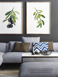 Olive Tree 2 Art Prints Set Black Olive Fruit by ColorWatercolor