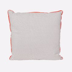 Super sweet cotton dot cushion with neon orange piping and grey reverse, the perfect addition for living spaces and bedrooms.