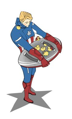 """[Image: Steve Rogers holding his shield upside-down; there are ducklings inside his shield that represent the rest of the MCU Avengers + Loki; Loki-duckling is on his back, Thor and Bruce Banner are sitting near him, Clint Barton is under one of the straps, Natasha Romanoff is sitting near Bruce, and Tony Stark is wearing an Iron Duckling suit and flying over them. A little Phil Coulson duckling is sitting on Steve's shoulder and thinking """"hearts.""""]  my-pornstache:  Src:♥"""