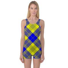 Smart Plaid Blue Yellow Women's Boyleg One Piece Swimsuits
