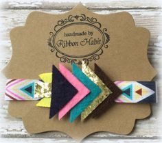 Fun, glitter and felt Tribal style girls headband in pink, gold glitter, navy blue, turquoise, brown and yellow. -Can be worn across the forehead