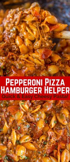 Pepperoni Pizza Hamburger Helper is a quick and easy cheesy pasta that tastes like your favorite pizza and it\'s ready to eat in just 30 minutes.