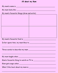 Mother's Day 'You and Me book' - Get pupils thinking about their mothers and complete these booklets.